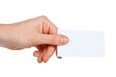 Business card in hand Stock Photo