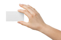 Business card in hand. On white background Stock Images