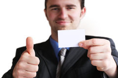Business card in hand Royalty Free Stock Photos