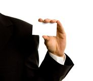 Business card in hand Royalty Free Stock Photography