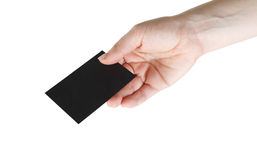 Business card in hand Stock Image