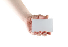 Business card in hand Stock Photography