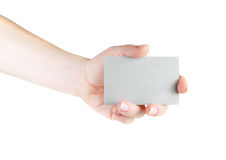 Business card in hand Stock Images