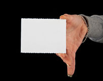Business card in a hand Royalty Free Stock Image