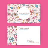 Business Card Hand Drawn Candy Sweets Background Stock Images