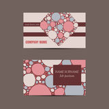 Business card with hand drawn doodle pattern Royalty Free Stock Image