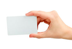 Business Card. In hand isolated Stock Photography