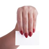 Business card in the hands of a business woman Royalty Free Stock Photography