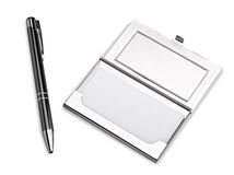 Business card holder case with stylo royalty free stock photos