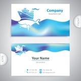 Business card - holiday cruise ship - big whale - symbol sea Stock Image