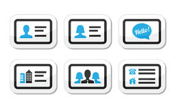 Business card  icons set. Black and blue labels set - businessman, businesswoman, company business card Stock Image