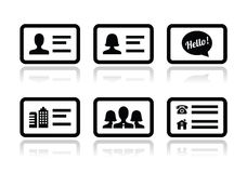 Business card  icons set. Black icons with reflection - businessman, businesswoman, company business card Stock Photography