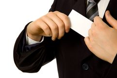 Business card from inner pocket Stock Image
