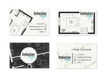 Business card for interior designer, decorator. Architect. Corporate identity Royalty Free Stock Image
