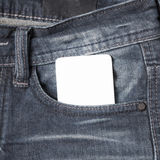 Business card in jean pocket Royalty Free Stock Images