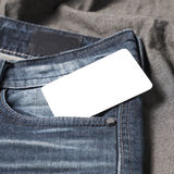 Business card in jean pocket Stock Photos