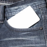 Business card in jean pocket Stock Images