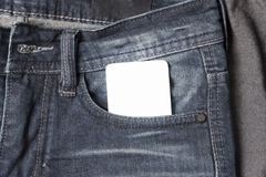 Business card in jean pocket Royalty Free Stock Photo
