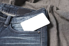 Business card in jean pocket Stock Photography