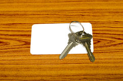 Business card and keys Royalty Free Stock Image