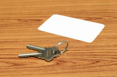 Business card and keys Stock Photography