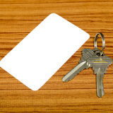 Business card and keys Royalty Free Stock Images
