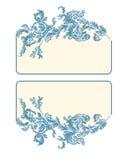 Business card, label, button, banner,  blue color. Business card label button banner floral ornamental decoration vector illustration blue color Stock Photo