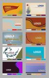 Business Card Layouts. Colorful horizontal business card identity layouts with palettes in jpeg and vector format Stock Images