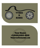Business card with the logo image of tyres and rims. Vector Royalty Free Stock Image