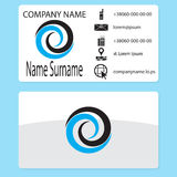Business card with logo whirlpool branding. Business card template with water whirlpool, vector vortex and swirl, whirlwind logotype illustration stock illustration