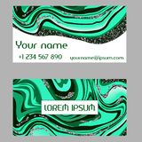 Business card. Malachite texture. Green Stone. Cross section of malachite with silver glitter. Vector illustration. Eps 10 stock illustration