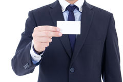 Business card in male hand isolated on white Stock Photo