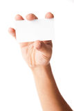 Business card in man's hand on white background Royalty Free Stock Photography