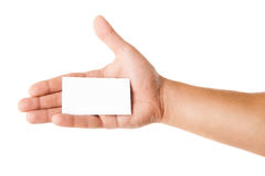 Business card in man's hand on white background Royalty Free Stock Photos