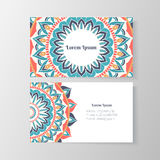 Business card with mandala floral pattern Royalty Free Stock Photo