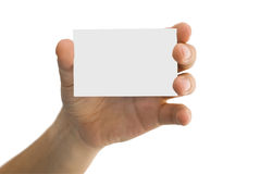 Business card in a men's hand Stock Photos