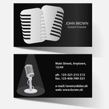 Business card with microphone Royalty Free Stock Photos