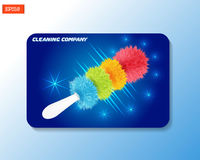 Business card mock-up for cleaning company with realistic colored duster brush on a blue background. Vector illustration. Stock Photos