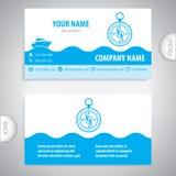 Business card - Navigation compass - maritime symbols Stock Photos