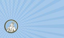 Business card Neptune Poseidon Trident Circle Retro Royalty Free Stock Image