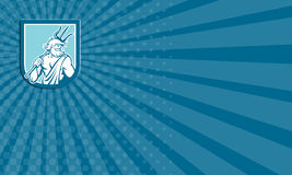 Business card Neptune Poseidon Trident Shield Retro Stock Photography