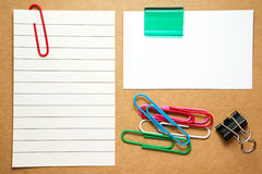 Business card and note with paperclips Royalty Free Stock Photography