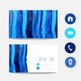 Business card. Oil painted blue business card template, design element. Can be used also for greeting cards, banners, invitations. Chevron background. Abstract Royalty Free Stock Photos