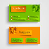 Business card with orange green design template Royalty Free Stock Photo