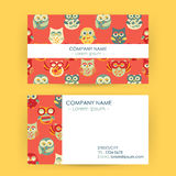 Business Card with Owls Stock Photos