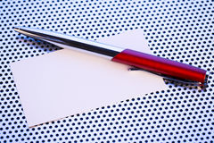 Business Card and a Pen Stock Images