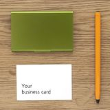 Business card and pencil Stock Image