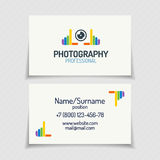 Business card with photography logo with colorful hands and lens. Color style for use photo studio, education, wedding and etc. Vector Illustration Royalty Free Stock Photo