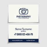 Business card with photography logo and silhouette photocamera l Stock Illustration