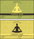 Business card with a picture of a man in the lotus position in two colors with stripes. yoga studio. Stock Photography